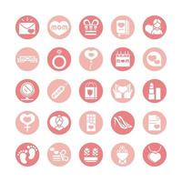 mothers day celebration party event icons set block style vector