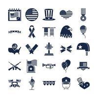 día conmemorativo americano celebración nacional iconos conjunto icono de estilo de silueta vector