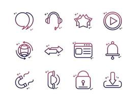 social media network technology multimedia gradient style icon vector