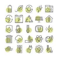 sustainable energy alternative renewable ecology icons set line style icon vector