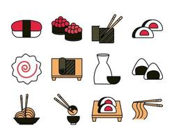 sushi oriental menu icons set line and fill style icon vector