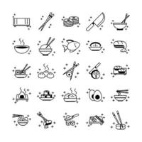 sushi oriental menu icons set line style icon vector