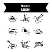 sushi oriental menu japanese food icons set line style icon vector