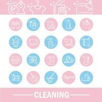 limpieza de iconos de higiene doméstica establecer icono de estilo de color de bloque de higiene domé vector