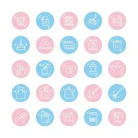 cleaning domestic hygiene icons set domestic hygiene block color style icon vector
