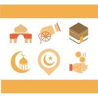mecca cannon moon celebration ramadan arabic islamic celebration tone color icon vector