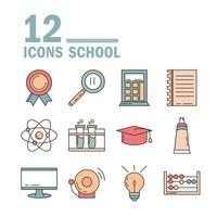 school education learn supply stationery icons set line and fill style icon vector