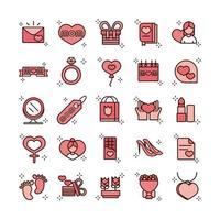 mothers day celebration party event icons set line and fill style icon vector