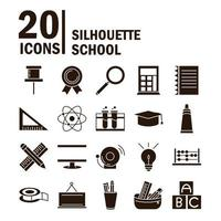 school education learn supply stationery icons set silhouette style icon vector