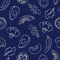 Seamless pattern with food on dark blue background vector