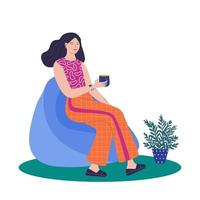 Women sitting in ball chair and resting and drinking coffee vector