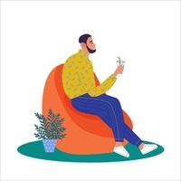 Men sitting in ball chair and resting and drinking fresh juice vector