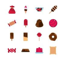 sweet confectionery snack food candy icons collection vector