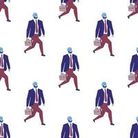 Seamless pattern with office workers and businessmen with briefcases walking to work vector
