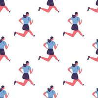 Seamless pattern of running young women in sportswear vector