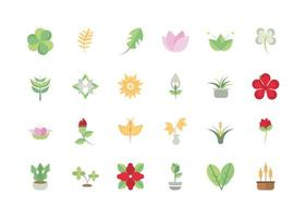 flower foliage decoratiopn natural floral botanical icons set vector