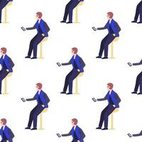 Seamless pattern with office workers men are holding smartphones vector