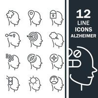 alzheimers disease neurological brain medical condition icons set line style icon vector