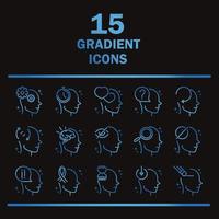 alzheimers disease neurological brain medical condition icons set gradient line black background vector