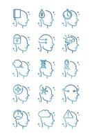 alzheimers disease neurological brain medical condition icons set gradient line vector