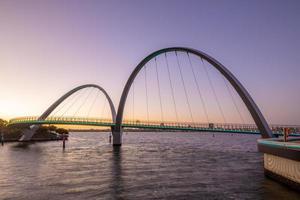 Elizabeth Quay Pedestrian Bridge in Perth at dusk photo