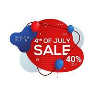 Fourth of July USA independence day sale banner with abstract liquid vector