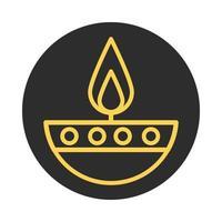 burning candle religious eid mubarak islamic religious celebration block and line icon vector