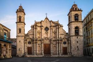 Facade of Havana Habana Cathedral in Cuba photo