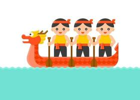 Dragon Boat with Paddler Dragon Boat festival vector
