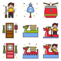 Dragon Boat festival related filled icon set 3 vector