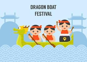 Dragon Boat paddling with mountain and chinese pavilion background vector