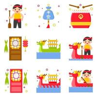Dragon Boat festival related flat icon set 3 vector