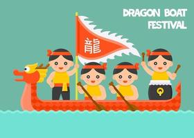 Dragon Boat paddling with Paddler and Drummer vector