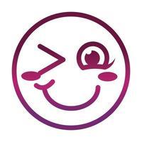 rubor guiño gracioso smiley emoticon cara expresión gradiente estilo icono vector