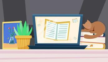 Online education concept screen with book vector