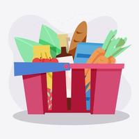 Supermarket grocery basket full of different groceries vector