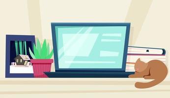 home teaching desk vector illustration in flat style