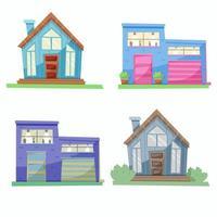 set of stylish houses vector