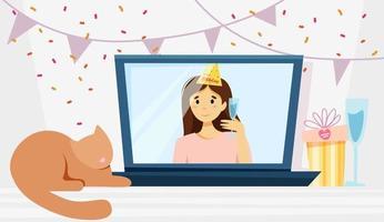 Congratulation screen online holiday concept vector