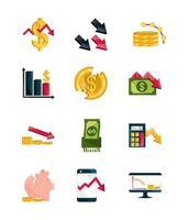 financial business crisis economy money stock market crash icons set isolated icon vector