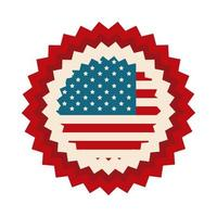happy independence day american flag celebration national badge flat style icon vector