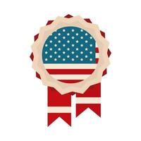 happy independence day medal memorial american flag flat style icon vector