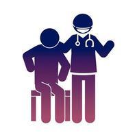 coronavirus covid 19 doctor patient diagnosis disease health pictogram gradient style icon vector