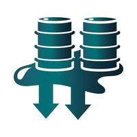 spilled barrels down arrow trade crisis economy oil price crash gradient style icon vector