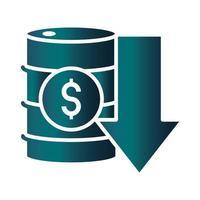 barrel money down business crisis economy oil price crash gradient style icon vector