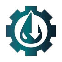 gear with drop down arrow trade crisis economy oil price crash gradient style icon vector