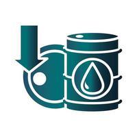 barrels downturn collapse trade crisis economy oil price crash gradient style icon vector
