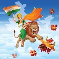 madre india en león con sari tricolor destruyó el virus con su poder vector
