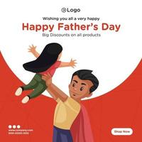 Banner design of happy fathers day discount on all products cartoon style template vector