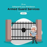 Banner design of safeguard your residence service template vector